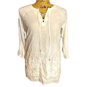 Retrology White Embroidered Peasant Tunic Top